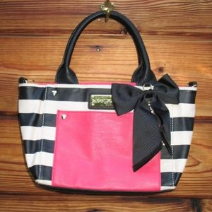 Betsey Johnson Black White Small Bow Tote Bag